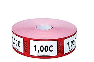 CARTALOTO - Rollo de 1000 Etiquetas (Valor 1,00€ - Rojo), Multicolor