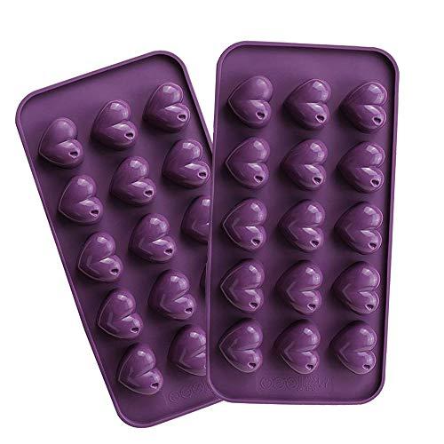 2 Stück Schokolade (webake Silikonform Herzchen Schokoladenform Schokolade Selbst Machen Silikonbackform Praline Silikon Herz Eiswürfel Schokolade Form Süßigkeiten Dekoration Förmchen 2 Stück)