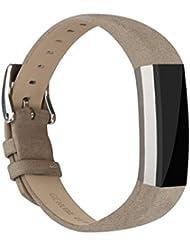 Vancle Lederarmband für Fitbit Alta, Anpassbare Bequemen Fitbit Alta Ersatzarmbänder mit Edelstahl Schnalle (Kein Tracker)