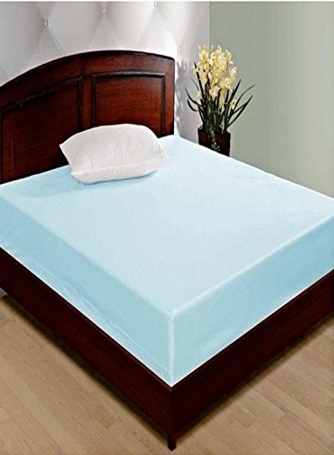 "LatestHomeStore 100% Waterproof & Dustproof Double Bed Fitted Mattress Protector, Blue With Zip Clourse ( Size 6"" x 6"")Feet (BABYCARE)"