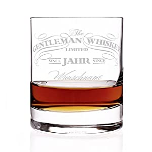 Privatglas Whiskey Glas - Gentleman Whiskey Design - Gratis Gravur Name u. Geburtsjahr Gentleman Whiskey