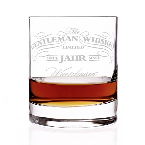 Privatglas Whiskey Glas - Gentleman Whiskey Design - Gratis Gravur Name u. Geburtsjahr Gentleman Whiskey Whiskey Glas