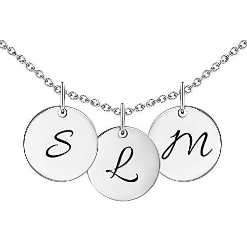 Soufeel Personalisierte Damen Kette mit 3 Kreis Initiale Buchstabe Gravur Fashion Geschenk für Geburtstag