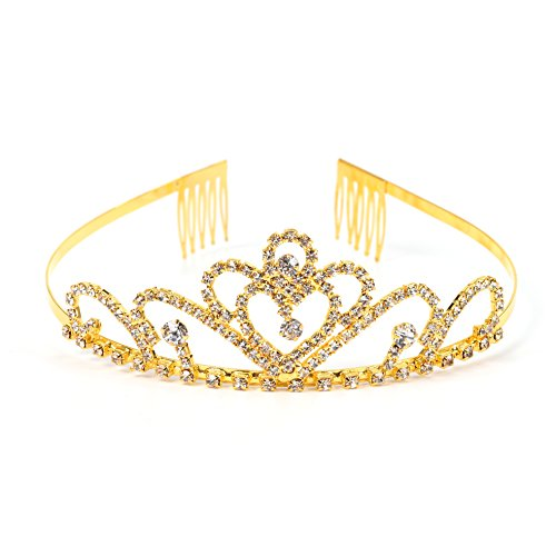 Kostüm Pageant Kleines Mädchen - RIVERTREE Gold kostüm prinzessin krone mit kamm pin für mädchen & frauen kristall braut hochzeit tiara