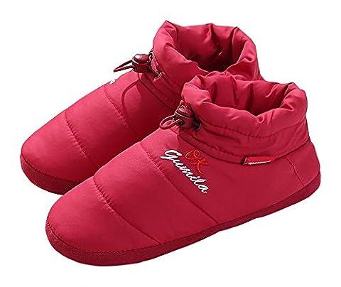 Unisexe Chaussons montants Happy Lily chaud Chaussures–Mousse à mémoire de forme Mules avec semelle extérieure en caoutchouc anti-dérapante Cordon élastique pour adulte, Red