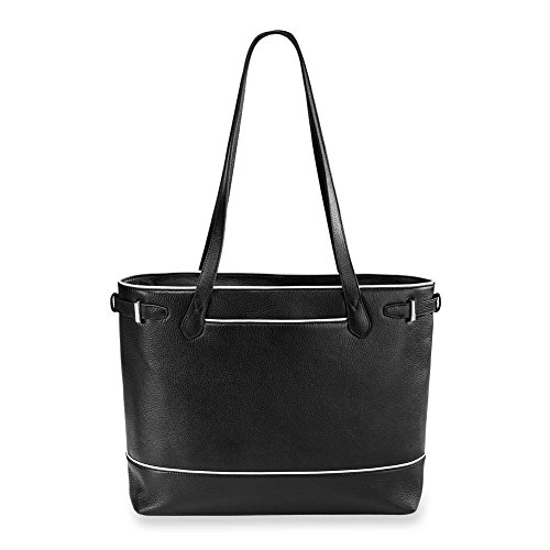 Levenger AL15060 Polished and Sophisticated Leather Blair Business Tote, Classic Contrast