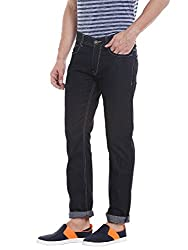 Spykar Mens Black Slim Fit Low Rise Jeans (Rico) (36)