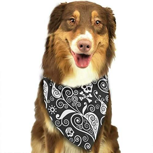 Muster Einfachheit Kostüm - Schwarzes Blumenschädel-Dreieck Bandana-Schal-Zubehör für Haustier-Katzen und Hunde - Geschenke