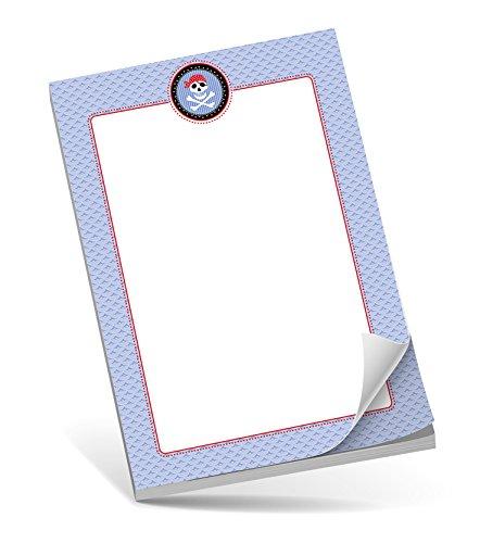 Schreibblock A5 PIRAT BLAU • 50 Blatt unliniert DIN A5 (148,5x210 mm) Notizblock/Block/für Schulkinder/für ()