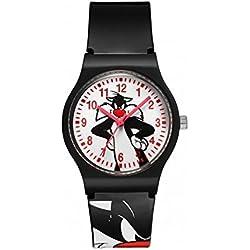 SI-01-Warner Bros Sylvester Watch-Analogue Quartz-White Dial-Black Plastic Strap