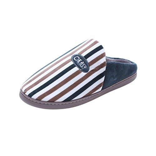 Chaussons Winter Plush Slippers, Amlaiworld Hiver intérieur Chaussons Pantoufles chaudes rayées Anti-dérapant chaussures molles