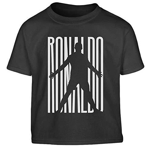 Maglietta bimbi fans ronaldo - t shirt juventini cristiano bambino t-shirt 6-8 anni (118/128cm) nero