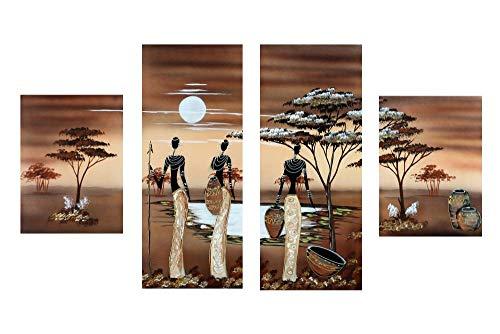 WWWMR 4 Panel Afrika Gemalte Leinwand Bild Tableau Images Poster Leinwanddruck Malerei Gerahmte Wandkunst Fertig Zum Aufhängen Für Hauptdekoration Size2