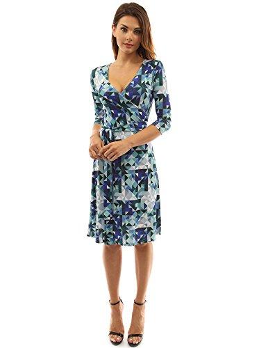 PattyBoutik Damen geometrisches faux wrap Sonnenkleid mit V-Ausschnitt blau, grün und weiß
