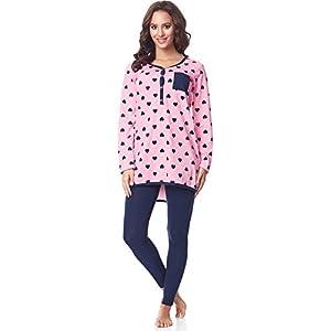 Be-Mammy-Premam-Pijama-Conjunto-Camiseta-y-Leggins-Embarazo-Lactancia-Maternidad-Vestidos-de-Cama-Mujer-BE20-178Rosa-Corazn-Marino-XL