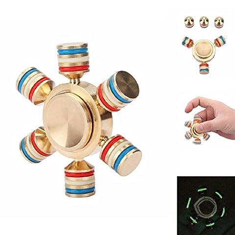 Happyhouse Rougeoyant laiton main Spinner doigt EDC Fidget Gyro TDAH Focus Bureau jouet pour enfants adultes