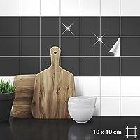Wandkings Fliesenaufkleber - Wähle eine Farbe & Größe - Anthrazit Glänzend - 10 x 10 cm - 100 Stück für Fliesen in Küche, Bad & mehr