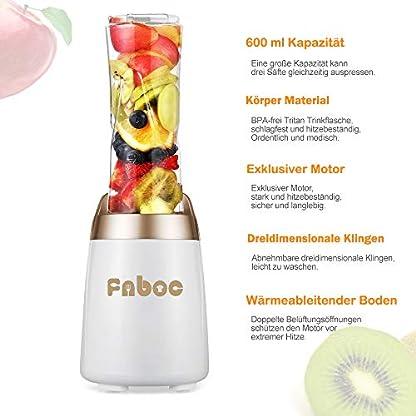 Fnboc-MixerSmoothie-Mixer300W-2-Tritan-Sportflasche-fr-Sftetan-Sportflasche-fr-SfteStandmixer-Single-Serve-Mini-Bullet-Mixer-mit-Shakes-und-Smoothie