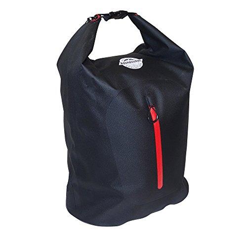 Aquabourne Tiber 32l wasserdichte Schwimmertasche. Wasserabweisender Rucksack zum Bootfahren, Segeln, Radfahren und Wandern. 32 Ltr. Kapazität ( schwarz) (Bootfahren Streifen)