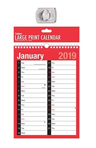 Tallon - Calendario 2018 A4, 2 Mese di colonna per visualizzare il calendario di pianificazione, a spirale, rosso/nero