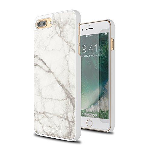 Cover iPhone 7 Plus and 8 Plus, Snugg Apple iPhone 7 Plus and 8 Plus Custodia Case [Marmo Genuino] TPU Ultra-Slim Protettiva Pelle - Marmo Nero White
