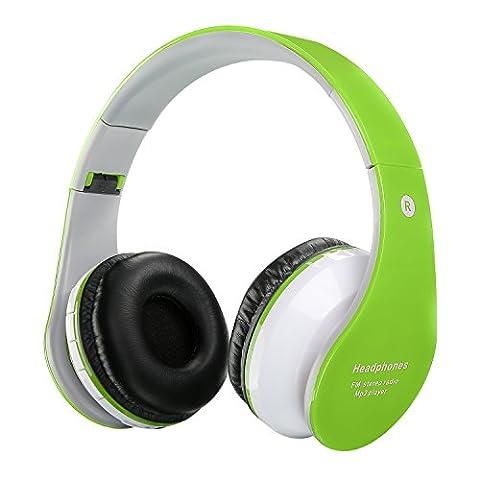 Casque sans fil Bluetooth pour enfants Casques rechargeables rétractables Écouteur intra-auriculaire avec microphone intégré pour téléphones intelligents Tablet PC et autres périphériques Bluetooth Vert