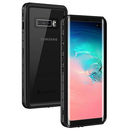 Lanhiem für Samsung Galaxy S10 Plus Wasserdicht Hülle, [IP68 Zertifiziert wasserdichte] Handy Hülle mit Eingebautem Displayschutz, Stoßfest Staubdicht und Outdoor Schutzhülle - Schwarz
