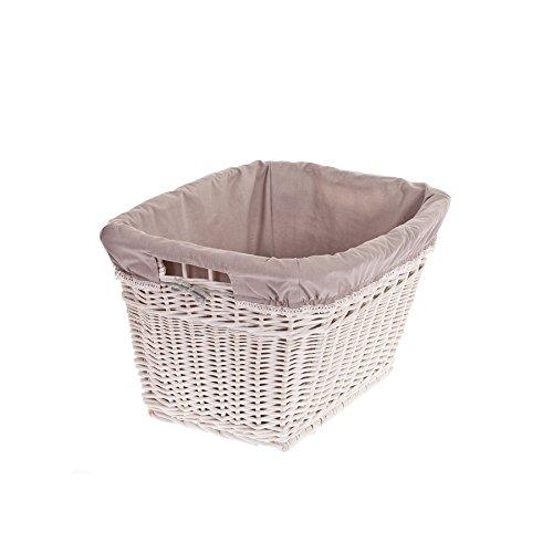 Wäschekorb aus Weide, Puff, Retro Wäschekorb, Vintage Stil, weißer Korb mit Einem Stoff besetzt, Kaminkorb, Spielzeugbehälter