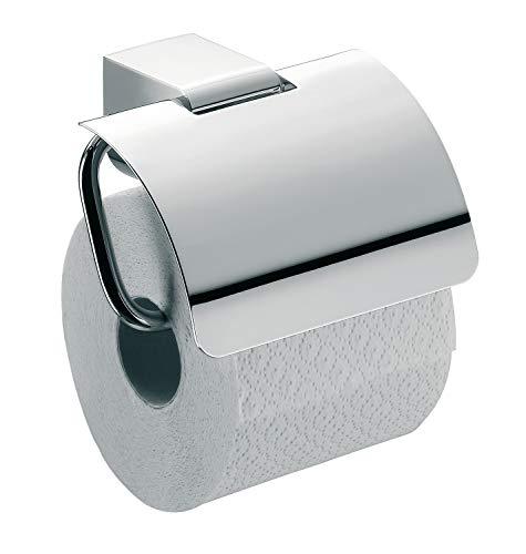 Emco Mundo Toilettenpapierhalter, chrom, Klopapierhalter, mit Deckel, Rollenhalter, Wandmontage - 330000100