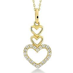 Damen Halskette 14 Karat / 585 Gelbgold drei Herzen als Anhänger / 14k Gold 3 Hearts Necklace | Kettenlänge 45cm