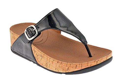 Damensandalen FitFlop The Skinny Leder Schwarz-Schuhgröße 40 (Leder-flip-flops Patent Schwarz)