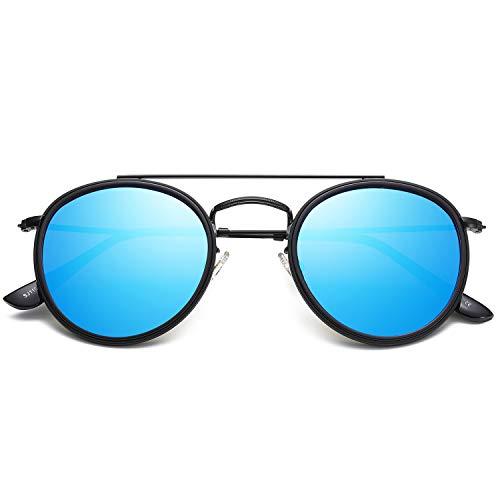 Sojos occhiali da sole uomo e donna rotondi polarizzati doppio ponte specchiati montatura in metallo unisex sunset sj1104 con nero telaio/blu specchio lente