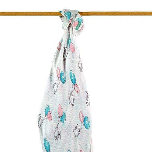 molis&co. Manta multiuso para bebé. Muselina premium súper suave, 70% bambú y 30% algodón. Tamaño XL (120x120 cm). Estampado de conejito y globos en tonos azules y rosas. Unisex.