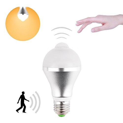 Minger 5W LED Lampen mit Bewegungsmelder Warmweiß E27 LED Birnen PIR Infrarot Bewegung Aktiviert Energiesparlampen Beleuchtung für Korridor, Garage, Treppe, Garten, Hof, 1 Stück [Energieklasse A+] [Energieklasse A+] - Sensor Garage Licht