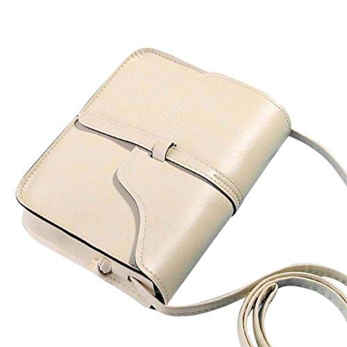 Fossil Leder Messenger Bag (Moonuy,Frauen Schulter Umhängetasche Vintage Handtasche Tasche Leder Cross Body Kunstleder Messenger Bags Geneigte Umhängetasche Minaudiere für Mädchen (Beige))
