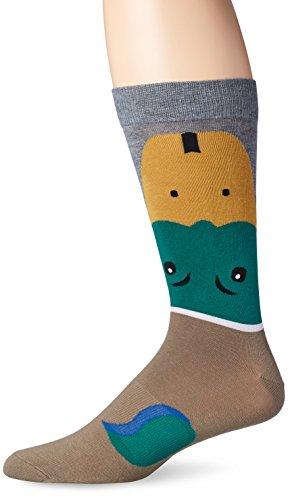 K. Bell Socks Men's Mallard Duck Crew Socks One Size (Fits Shoe Size 6-12.5 Us) Brown