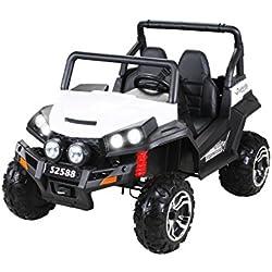 Coche eléctrico para niños RSX - 2.4Ghz, 24V, 4 X MOTOR, mando a distancia, dos asientos en cuero, ruedas blandas de EVA, radio de FM, Bluetooth (Blanco)