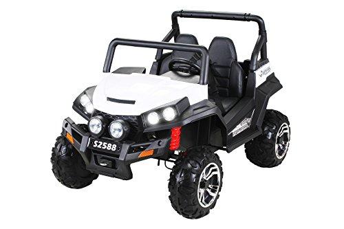 Actionbikes Kinder Elektroauto Maverick Offroad Buggy ALLRAD 2-Sitzer 4 x 45Watt 10Ah Batterie Eva Reifen 4x4 (Weiß/Schwarz)