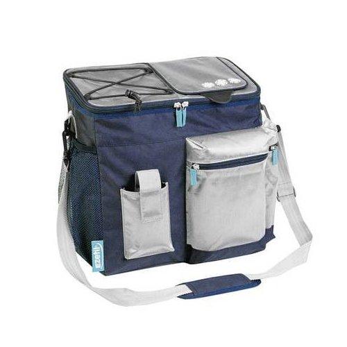 EZetil Kühltasche KC Travel in Style 18 zur Kühlung von Speisen und Getränken - ob unterwegs beim Wandern und Picknicken oder dem heimischen Garten, Blau/Silber 15,7 Liter Fassungsvermögen 36x21x33cm