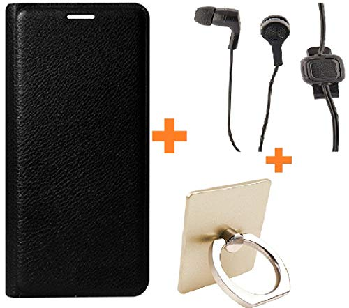 Shanice Premium Cover with Hansdfree, Ring Combo Black Cover Leather flip Cover for Micromax Yu Yureka S YU5200