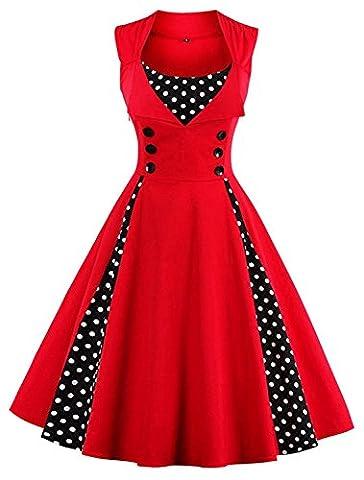 Minetom Femmes des Années 50 Elégantes Polka Dots Robe avec Boutons Vintage Rockabilly Swing Cocktail Party Robe Rouge FR 38