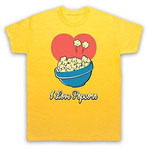 I Love Popcorn Slogan Style Herren T-Shirt Gelb