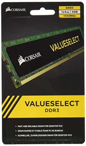 Corsair Value Select - Módulo de Memoria Principal de 4 GB (1 x 4 GB, DDR3, 1333 MHz, CL9) (CMV4GX3M1A1333C9)