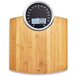 ADE Báscula personal de baño BE1719 Luna. Clásica. Dual - Analógica y digital. Capacidad hasta de 180 kg. Incluye Baterías. Bambu
