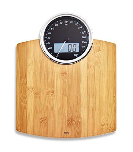 ADE Digitale Personenwaage BE 1719 Luna. Elektronische Waage mit Bambus und beleuchteter Anzeige (analog und digital) zur genauen Gewichtsbestimmung. 180 kg. Inkl. Batterie. Braun