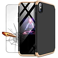 iPhone XS Max Hülle + Panzerglas, JINICHANGWU 360° Rundumschutz-Schale PC Full-Cover Anti-Kratzer Handyhülle Schutzhülle Case für iPhone XS Max 6,5 Zoll (2018) (Gold/Schwarz)