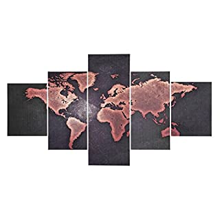 A Set of 5 Panels World Map Pattern Mordern Canvas Painting Printing Picture Wall Art Crafts Frameless Poster for Living Room Bedroom TV Backdrop Cafe Hotel Home Office Decoration