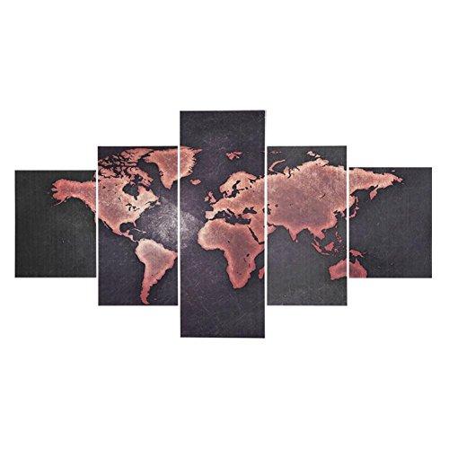 Fdit world map canvas antichità classica stampata immagine grande arte della parete per la casa da ufficio 5 pannelli