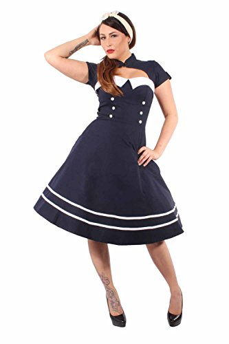 Up Kostüm 50er 40er Pin - SugarShock Pin Up Sailor Retro Rockabilly Bolero Swing Kleid Petticoatkleid blau