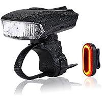 LED Fahrradbeleuchtung Set, MeeQee LED Bike Lights 400 Lumen Akku Fahrrad LED Wiederaufladbares Fahrradlampen Set Frontlicht & Rücklicht & USB Wiederaufladbar